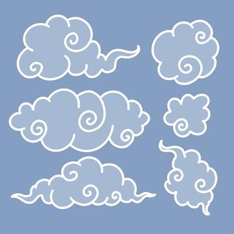 Conjunto de nubes, garabatos