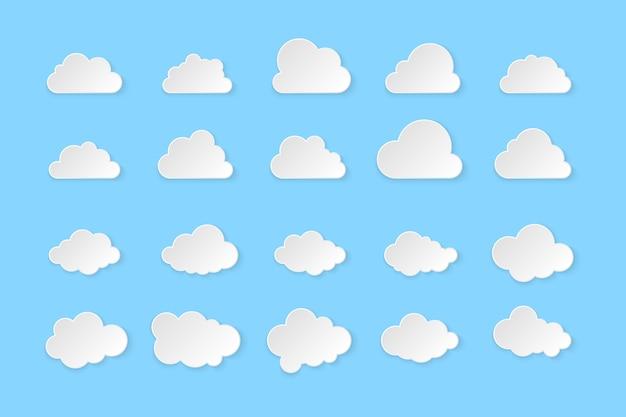 Conjunto de nubes. nubes simples sobre fondo azul, ilustración.