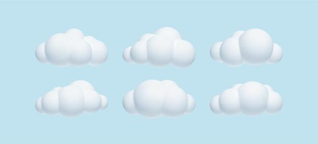 Conjunto de nubes simples realistas 3d aisladas sobre fondo azul