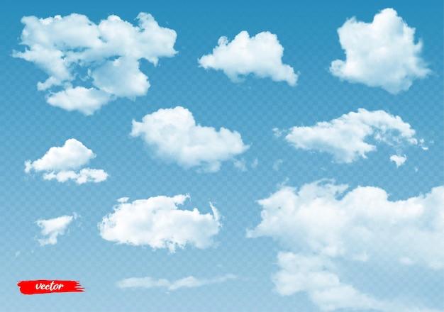 Conjunto de nubes transparentes d ilustración vectorial realista de nubes sobre fondo transparente