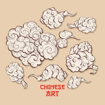 Conjunto de nubes y vientos con estilo de arte chino