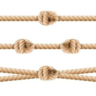 Conjunto de nudo eith de línea de cuerda realista