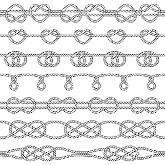 Conjunto de nudos de cuerda. elementos decorativos sin costura.