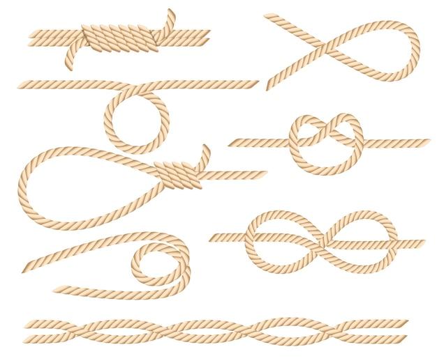 Conjunto de nudos de cuerda náutica