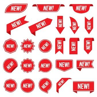 Conjunto de nuevas etiquetas rojas aisladas sobre fondo blanco