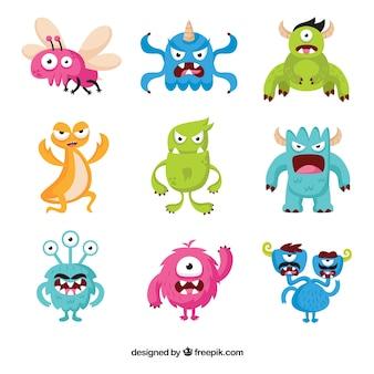 Conjunto de nueve caracteres de monstruos