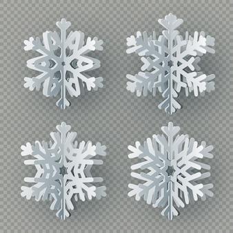 Conjunto de nueve copos de nieve de papel diferentes cortadas de papel sobre fondo transparente. feliz navidad, año nuevo invierno tema decoración objeto.
