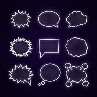 Conjunto de nueve elementos cómicos diferentes.