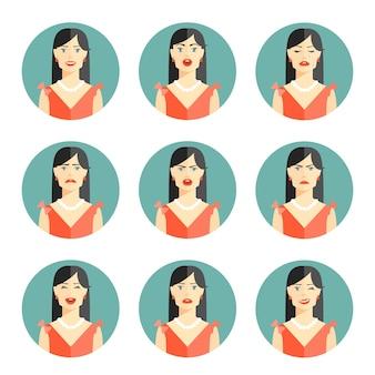 Conjunto de nueve emociones de mujeres diferentes que representan felicidad, alegría, tristeza, preocupación, ira, frustración, incredulidad y confusión en la pose de cabeza y hombros en una ilustración vectorial circular