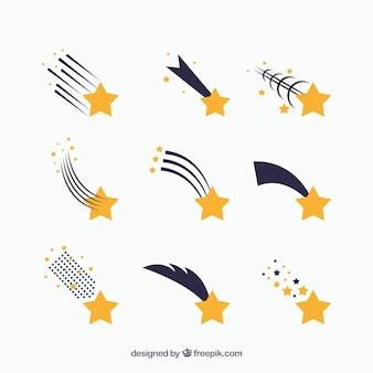 Conjunto de nueve estrellas fugaz