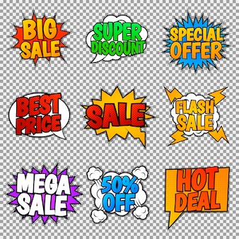 Conjunto de nueve etiquetas de venta. estilo pop art, burbujas de discurso.