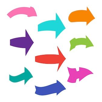 Conjunto de nueve flechas diferentes multicolores. ilustración vectorial