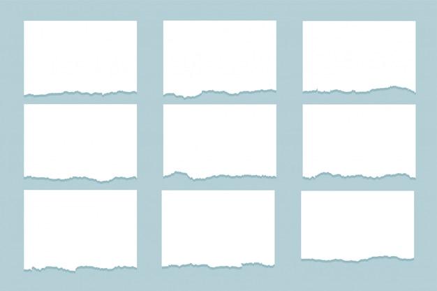 Conjunto de nueve hojas de papel rasgado rasgado
