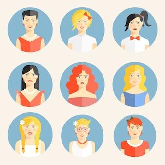Conjunto de nueve iconos redondos planos de color con retratos de rubia joven de moda