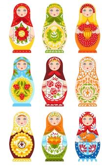 Conjunto de nueve muñecas de anidación coloridas