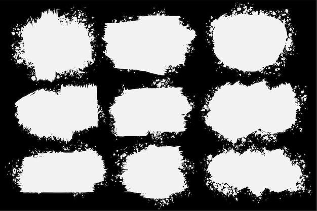 Conjunto de nueve salpicaduras de grunge abstracto