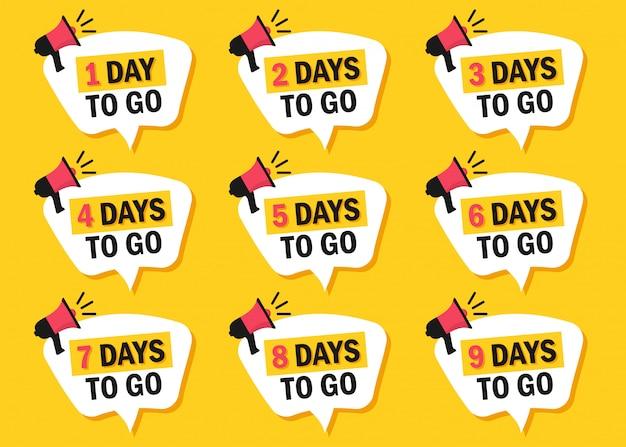 Conjunto de número de días que quedan para ir iconos con megáfono en un diseño plano