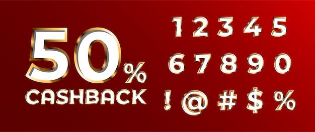 Conjunto de número de fuente 3d de san valentín dorado decorado