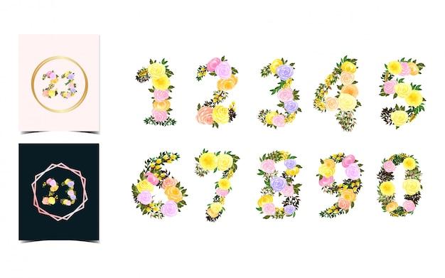 Conjunto de número individual floral del 0 al 9