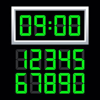 Conjunto de número de reloj digital.