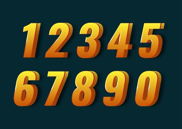 Conjunto de números 3d moderno fresco