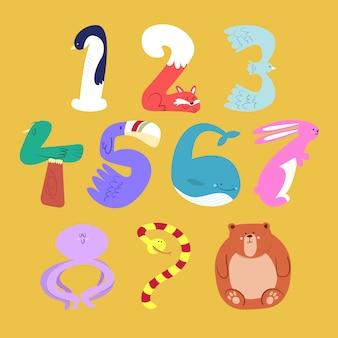 Conjunto de números de animales de dibujos animados en diseño de estilo plano