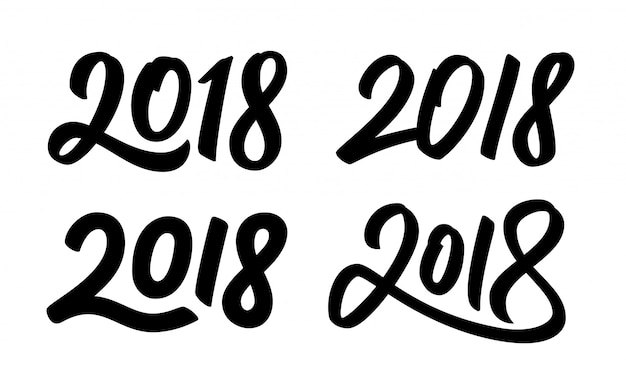 Conjunto de números de caligrafía de año nuevo 2018