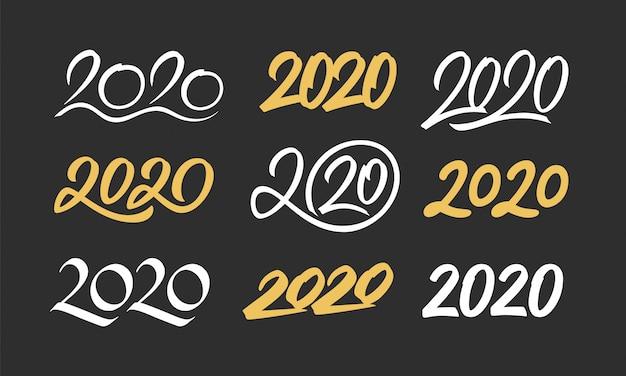 Conjunto de números de caligrafía de año nuevo 2020
