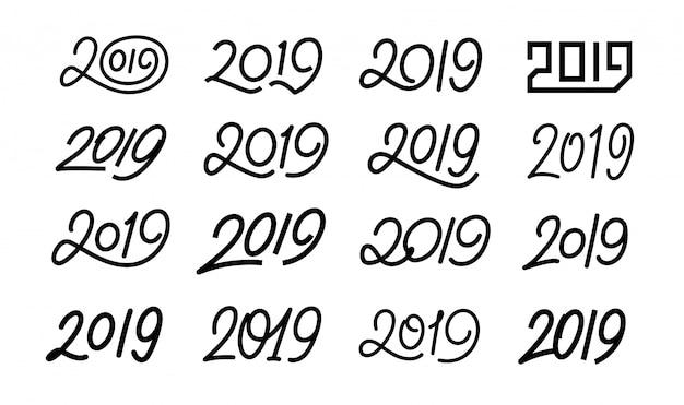 Conjunto de números caligráficos 2019