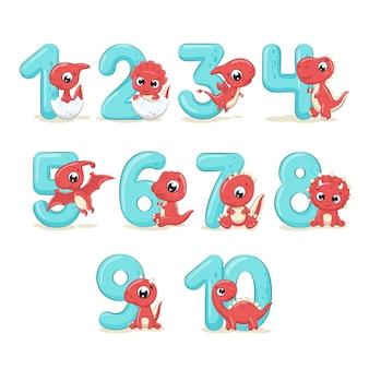 Conjunto de números de color con dinosaurios bebé.