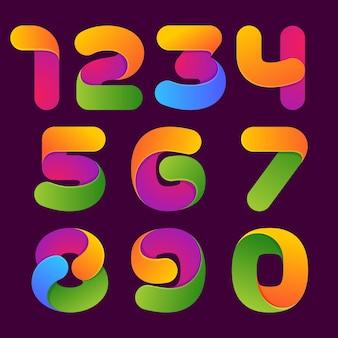 Conjunto de números coloridos. estilo de fuente
