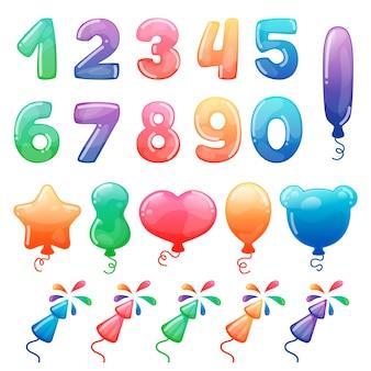 Conjunto de números de dibujos animados de colores, globos y fuegos artificiales.