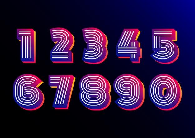 Conjunto de números de disco futurista retro