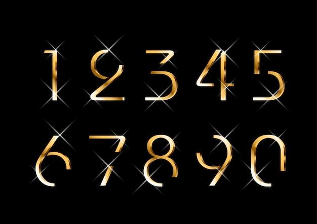 Conjunto de números dorados de lujo elegante y elegante