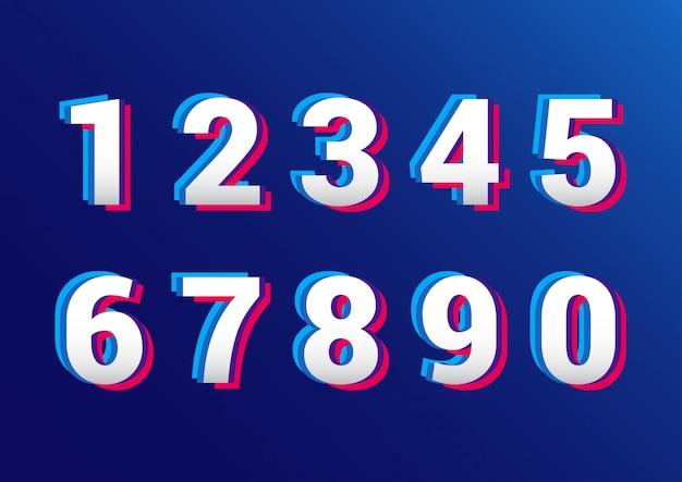 Conjunto de números de efecto retro 3d