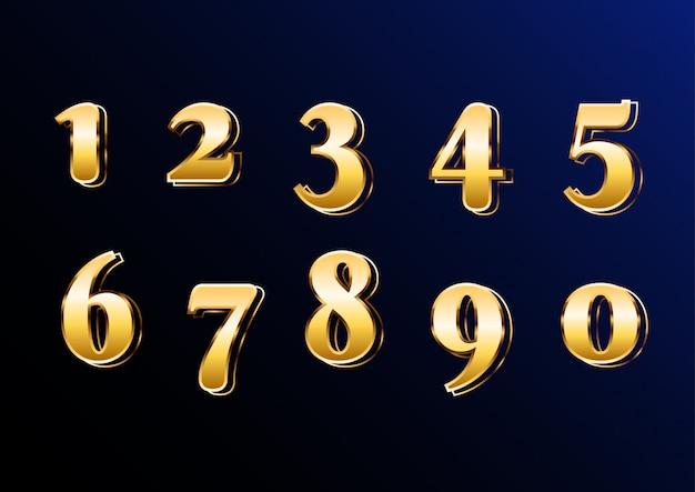 Conjunto de números elegante clásico de oro oriental