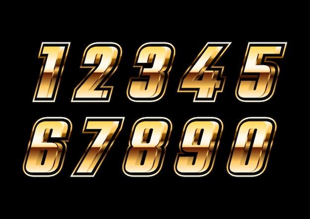 Conjunto de números futurista metálico dorado 3d