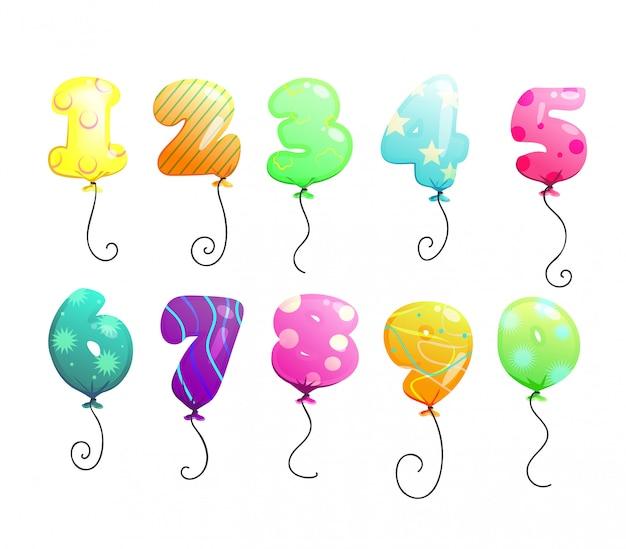 Conjunto de números de globos aerostáticos.