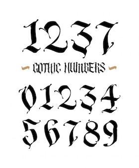 Conjunto de números góticos.
