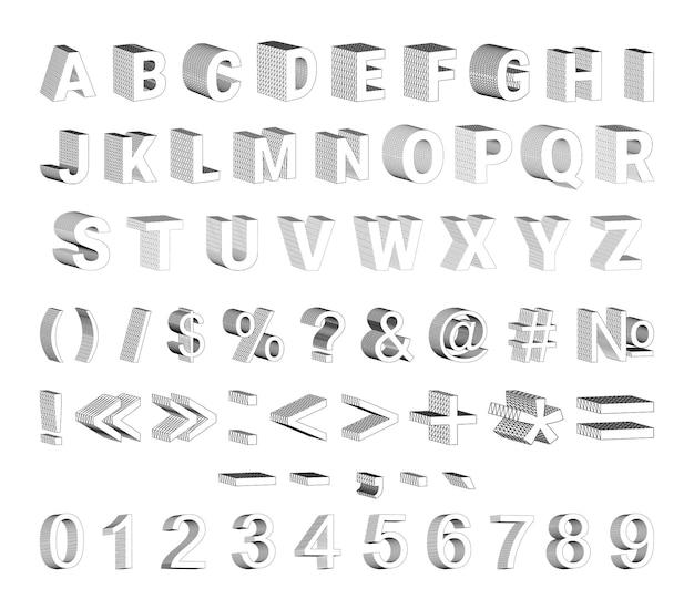 Conjunto de números de letras 3d y signos de puntuación