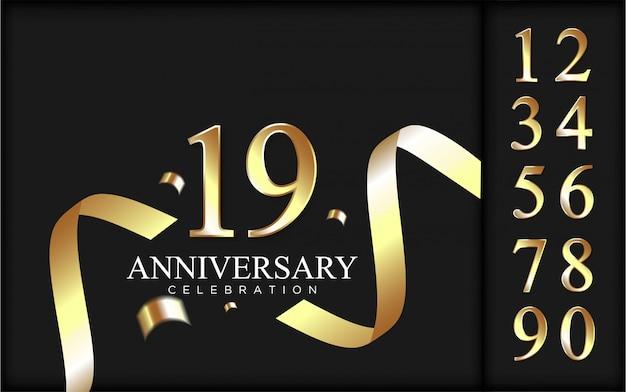 Conjunto de números de lujo para celebración con fondo de cinta dorada