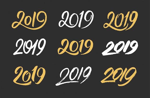 Conjunto de números manuscritos 2019 para año nuevo