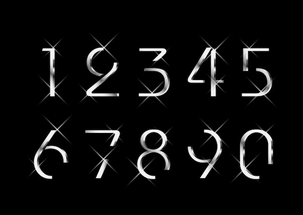 Conjunto de números de plata de lujo elegante y elegante