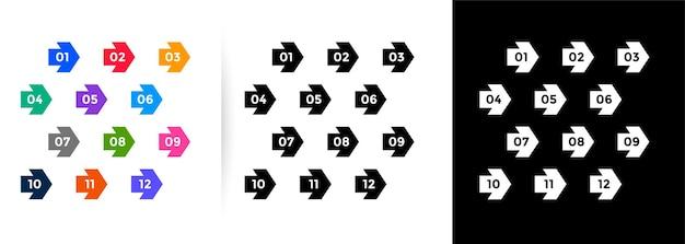 Conjunto de números de puntos de viñeta de dirección de flecha