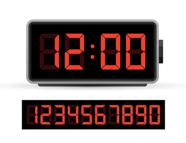 Conjunto de números de reloj digital. icono de tiempo. elemento de diseño. ilustración de stock vectorial. ilustración vectorial