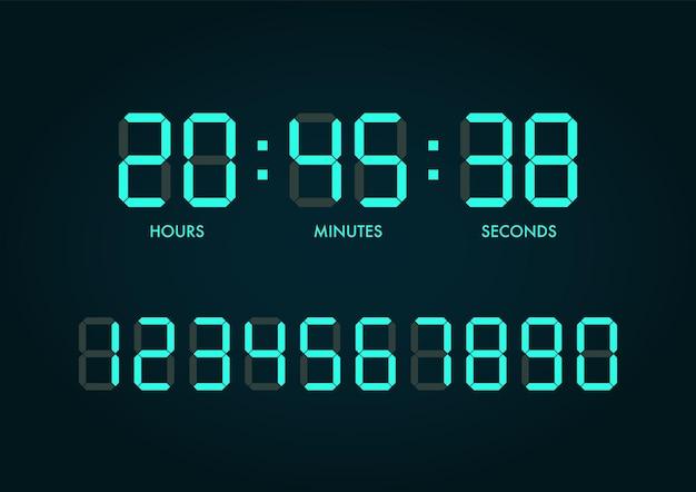 Conjunto de números de reloj digital. ilustración vectorial