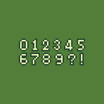 Conjunto de números retro pixel art.