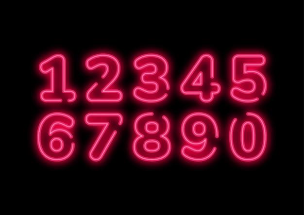 Conjunto de números retro rosa neón punk