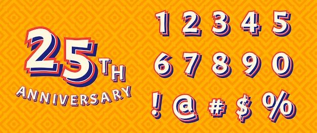 Conjunto de números de texto de decoración del desfile del festival