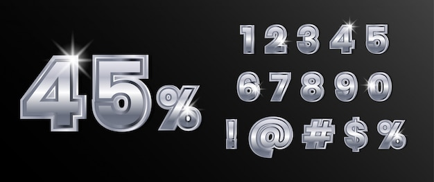 Conjunto de números de texto en plata cromo platino